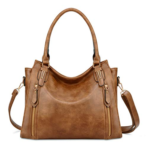 Plambag Faux Leather Handbag for Women Zipper Purse Tote Bag Brown