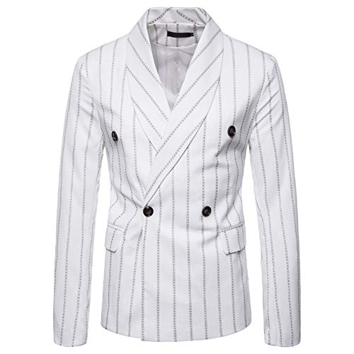 Mens Floral Dress Suit Double Breasted Stripes/Plaids Stylish Casual Blazer Jacket White