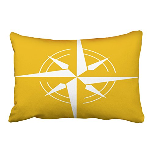 Accrocn Pillowcases Retro Mustard Yellow And White Nautical Compass Cushion Decorative Pillowcase Polyester 20 x 30 Inch Rectangl Queen Size Pillow Covers With Hidden Zipper
