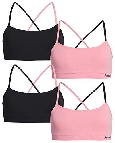 Reebok Girls Nylon/Spandex Seamless Training Bra (4 Pack), Black/Pink, Size Large (12/14)'