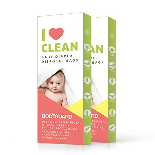BodyGuard Baby Diaper Disposable Bags – 30 Bags – Oxo Biodegradable, Leak-Proof Bags for Discreet Disposal of Diapers…