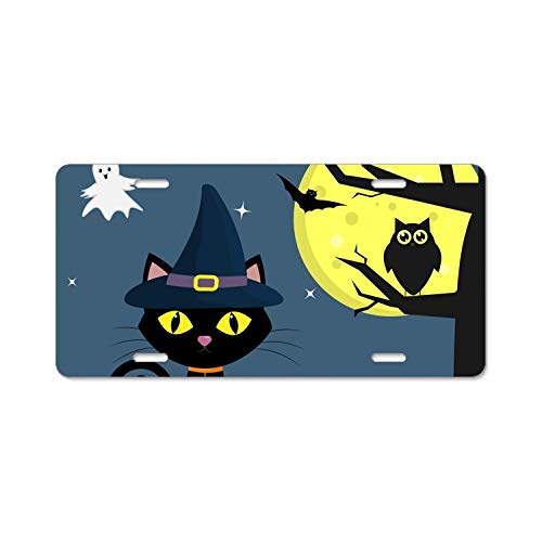 (YEX Abstract Happy Halloween cat2 License Plate Frame Car Licence Plate Covers Auto Tag Holder 6