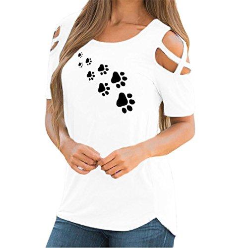 Strappy Femmes Blouses Zz Manches Shirt Courtes d't tefamore blanc paule Hauts T Froide 4dIqq