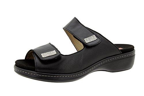 sandalia confort 6819 mujer cómodo ancho piel de plantilla extraíble zapato Negro Calzado Piesanto UgRYwqxWaa
