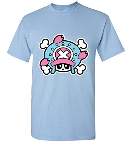 (Anime Funny T-Shirt Tony Tony Chopper Flag Bambu Anime Manga Kawaii Cute One Piece Light Blue)