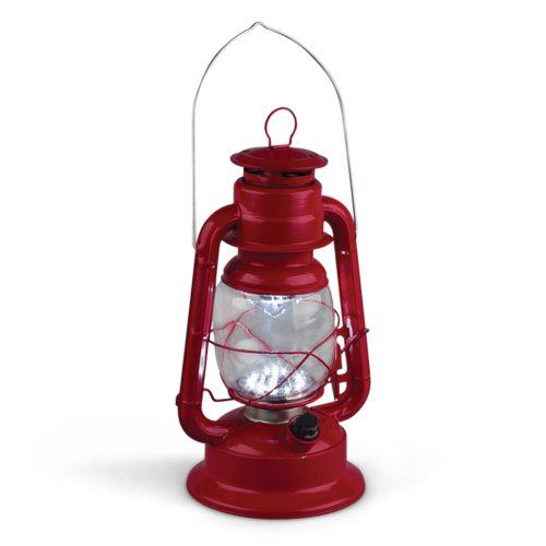 Gerson 11-Inch Red Metal 17 LED Hurricane Lantern with Dimmer Switch]()