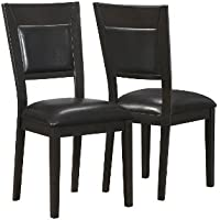 Monarch Specialties 2-Piece Leather-Look Side Chair, 39-Inch, Cappuccino