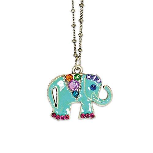 Anne Koplik Antique Silvertone Aqua Enamel Multi Color Swarovski Crystal Elephant Pendant ()