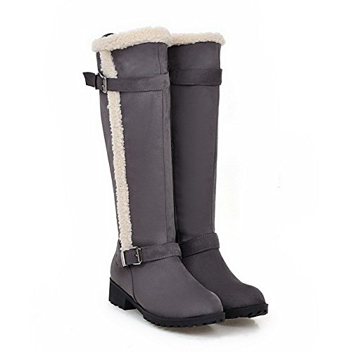 Low Heels High Suede Top WeenFashion Women's Imitated Boots Zipper Gray Solid R8UwT0n