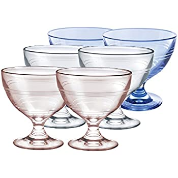 Duralex Made In France Gigogne Ice Cream Cup Set: Includes (2 each) 8.75 oz Clear, Pink and Blue Ice Cream Cups