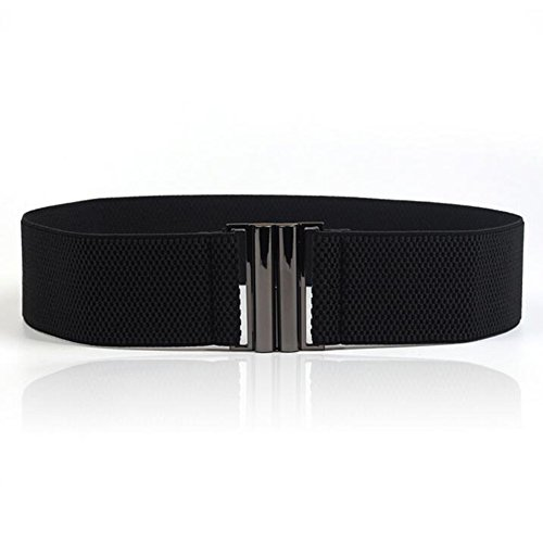 YYXR Womens Black Vintage Plus Elastic Stretchy Waist Cinch Trimmer Belt Size S