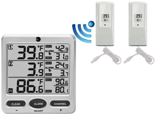 Ambient Weather WS-09 8-Channel Wireless Refrigerator / Freezer Thermometer Alarm Set