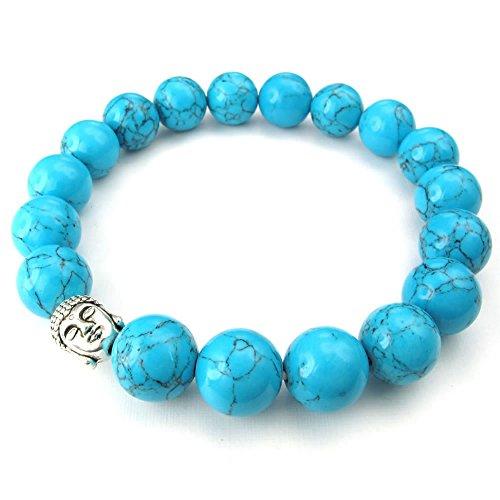 KONOV 10-12mm Natural Energy Stone Beads Gemstone Mens Womens Bracelet, 10-12mm Buddha Mala, Blue