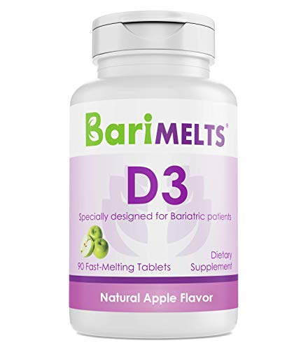 BariMelts D3, Dissolvable Bariatric Vitamins, Natural Apple Flavor, 90 Fast Melting Tablets