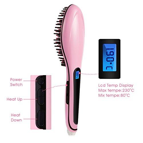 Magicfly Brush Hair Straightener Anti Scald Anti Static Ceramic Hair Straightener Heating Detangling Hair Brush For Faster Straightening Styling Massage Straightening Iron