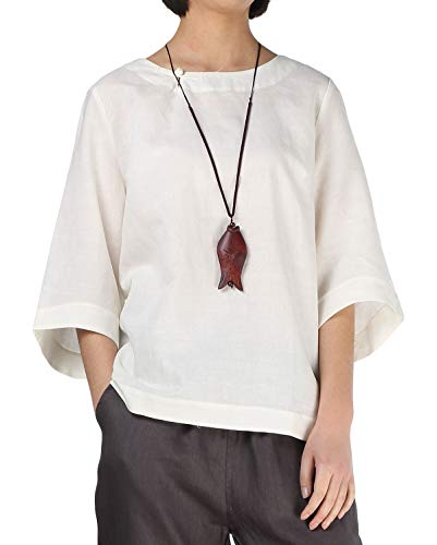 Minibee Women's Linen Blouse Round Neck 3/4 Sleeve Shirt Tops with Chinese Frog Button Beige-L