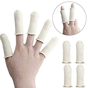 Tatuo 50 Packs Finger Cots Cotton Finger Guards Elastic Finger Protection