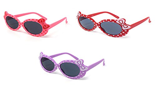 1 x Purple 1 x Pink 1 x Red Coloured Childrens Kids Girls Stylish Cute Designer Style Sunglasses with a Bow and heart Style UV400 Sunglasses Shades UVA UVB - Uk Eyelevel Sunglasses