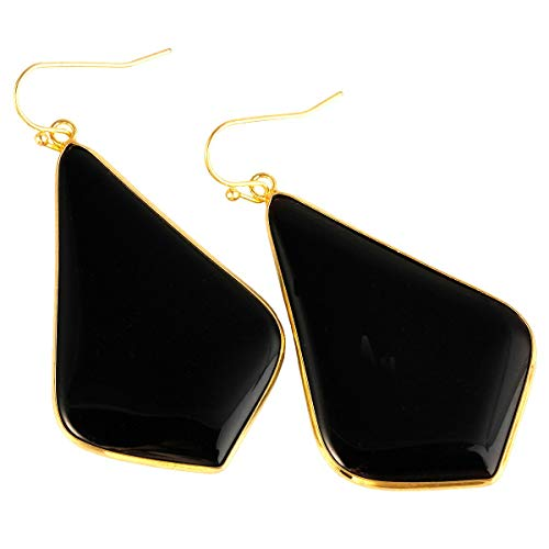 (TUMBEELLUWA Crystal Quartz Stone Dangle Hook Earrings Rhombus Shape Gold Plated,Black Agate)