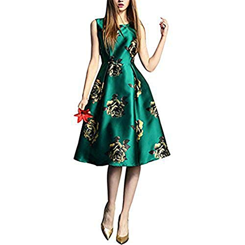 BUENOS NINOS Women's Sleeveless Flower Printed Vintage Cocktail Flare Dresses (12-14, Green Flower)