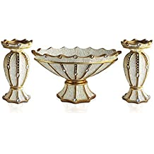 Emenest Decorative Bowl Centerpiece with 2 Pieces Pillar Candle Holders - Resin Cream and Gold Vintage Home Decor Orb, Tealight & Votive Stand