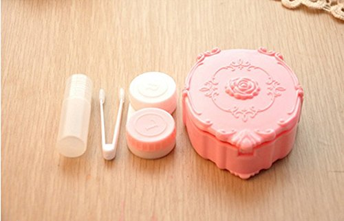 Mirror Contact Lenses (Adecco LLC Rose Design Contact Lenses Case Holder Storage Box for Home and Travel with Mirror (Pink))