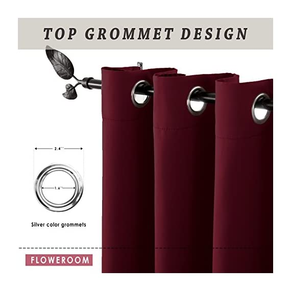 """FLOWEROOM Blackout Curtains Thermal Insulated Draperies with Grommet for Bedroom, Burgundy Red, 52 by 84 inch, 2 Panels - PACKAGE INCLUDED: Set includes 2 panels per package, each panel measuring 52 inch wide by 84 inch long. 8 sliver opening grommet with 1.6"""" diameter, fit standard-sized curtain rods PERFORMANCE: Blocks 95% of Sunlight and UV rays to any room anytime of the day, lowers outside noise up to 40% thanks to the innovative triple weave technology. ENERGY SAVING: Creates energy-saving insulating barrier against heat and cold, keeping room cooler in the summer and warmer in the winter. - living-room-soft-furnishings, living-room, draperies-curtains-shades - 412pkMMVWOL. SS570  -"""