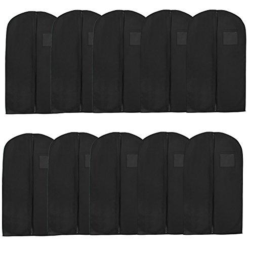 Bags for Less Vinyl Suit or Dress Garment Bag 54 inch Set of 10, Black