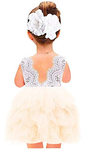 Girl Little Flower Dress (2Bunnies Girl Beaded Peony Lace Back A-Line Tiered Tutu Tulle Flower Girl Dress (Ivory Short Sleeveless, 5))