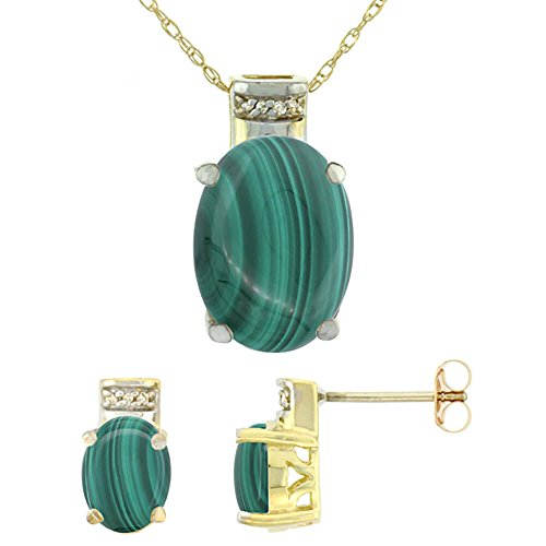 Or jaune 9 Ct naturel Malachite ovale boucles d'oreilles et pendentif Set Accents de diamant