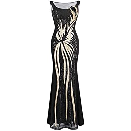 Angel-fashions Women's Splicing Evening Dress Gold Sequined