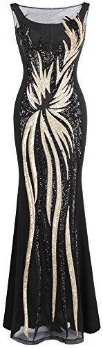 Angel-fashions Women's Sheer Gold Sequined Black Splicing Evening Dress XLarge
