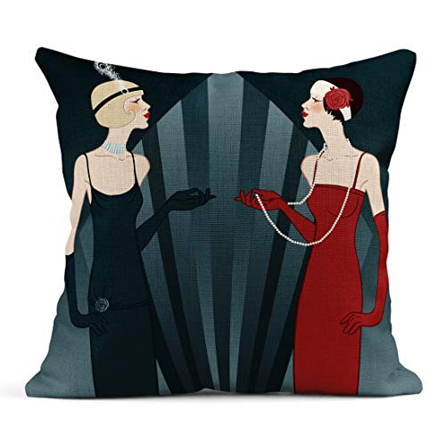 - Semtomn Decor Flax Throw Pillow Covers Case Beige 1920S Flapper Girls Series Retro Party Black 1930S 18