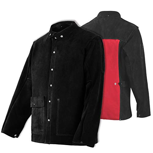 Leather Welding Jacket - Heat & Flame-Resistant Heavy Duty Split Cowhide Leather FR Work Safety Jacket, Black (XXX-Large)