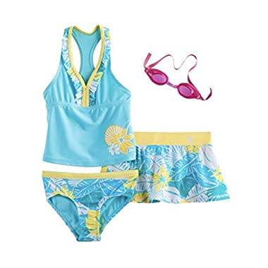 38421a7ef3c13 ZeroXposur Girls Tankini Top, Bottoms & Skirt Swimsuit Set (Aqua, ...