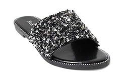 Glitter Bling Slide Flat Low Wedge Black Sandal