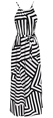 Chvity Womens Summer Geometric Striped Print Sleeveless Long Maxi Dress Sundress