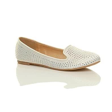 Ajvani Women's Flat Diamante Wedding Evening Ballerina Pumps Shoes Size 5 36 Ivory