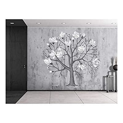 Floral Tree Sitting on a Grayscale Grungy Texture with a Vignette Effect Around It Wall Mural Removable Vinyl Wallpaper, Original Creation, Marvelous Piece