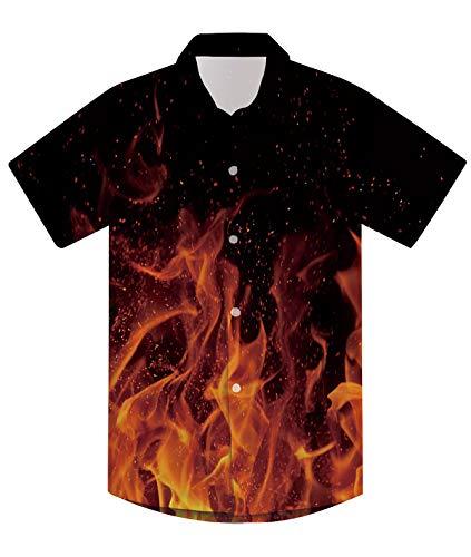 7T Boys Dress Shirt Button Down Kids 3D Fire Tee Shirts Novelty Aloha Beachwear Short Sleeve School Playwear Summer Apparel Black,Fire,7-8 ()