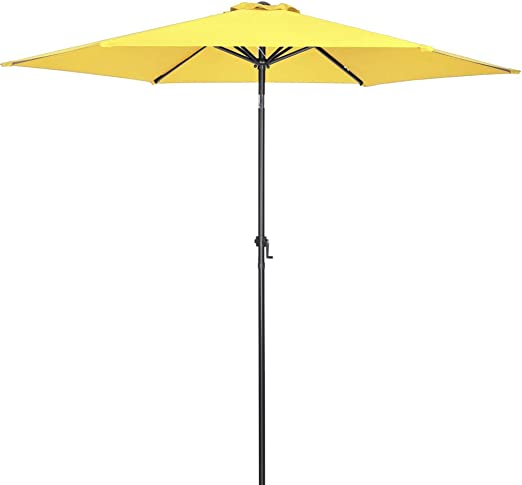 Deuba Sombrilla de Aluminio 300cm Amarilla manivela Repelente al Agua Parasol Estable jardín terraza Playa balcón Patio: Amazon.es: Jardín