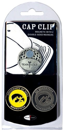Team Golf NCAA Iowa Hawkeyes Golf Cap Clip with 2 Removable Double-Sided Enamel Magnetic Ball Markers, Attaches Easily to Hats ()