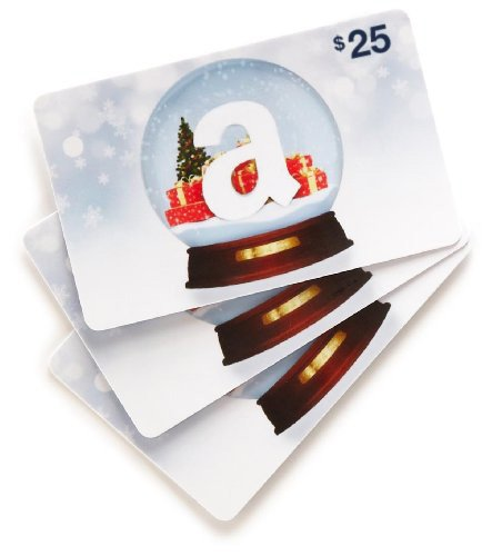 Amazon.com $25 Gift Cards, Pack of 3 (Holiday Globe Card Design)