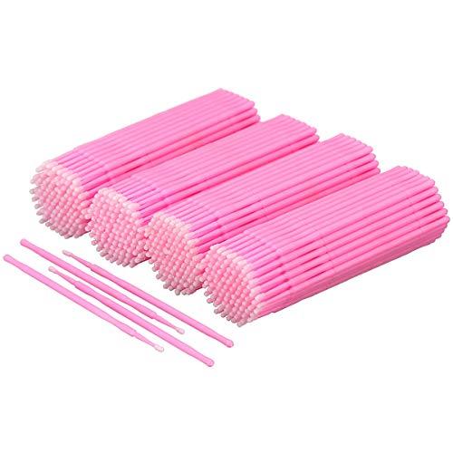 Akstore 400 PCS Disposable Micro Applicators Brush Eyelash Extension Individual Applicators Mascara Brush for Make up and Clean and Compatible and Personal Care (Pink) (Eyelash Extensions Microbrush)