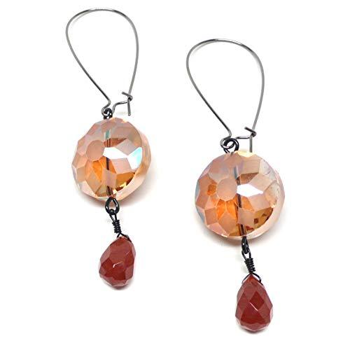 Carnelian Briolette Large Kidney Wire Glass Earrings Gunmetal Copper Gold-Tone Silver-Tone