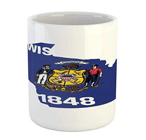 (Lunarable Wisconsin Mug, Badger State Map and Waving Flag Forward Motto Badger Sailor Miner, Printed Ceramic Coffee Mug Water Tea Drinks Cup, Cobalt Blue Multicolor)
