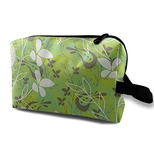 SKYLIHGT Green Foliage Pattern Toiletry Bag Multifunction Cosmetic Bag Portable Makeup Bag Waterproof Travel Hanging Organizer ()