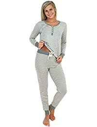 Women's Sleepwear Knit Long Sleeve Henley and Pant Pajamas PJ Set