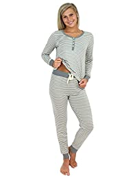 Sleepyheads Women's Sleepwear Knit Long Sleeve Henley Pant Pajamas PJ Set