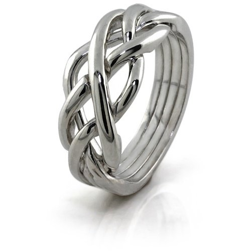 Sterling Silver Puzzle Ring 4WSL - Size: 10